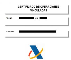 certificado de operaciones vinculadas